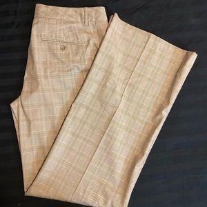 Express Editor wide leg khaki and gold stripe pant
